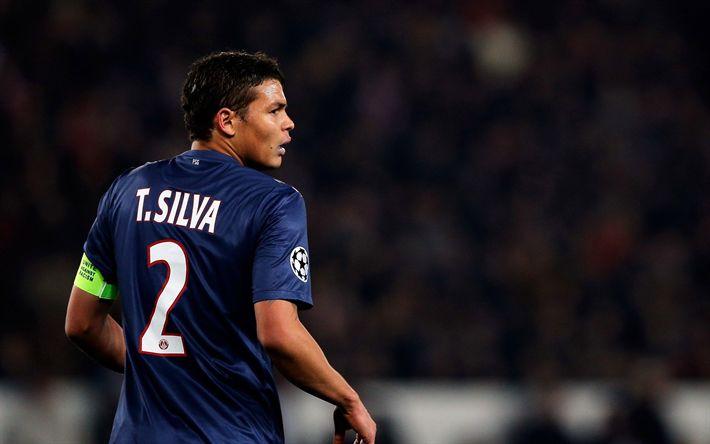 Télécharger fonds d'écran Tiago Silva, 4k, match PSG, footballers, soccer, Ligue 1, Paris Saint-Germain, Liga 1