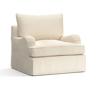 PB Comfort English Arm Slipcovered Armchair Knife Edge, Polyester Wrapped Cushions, Organic Cotton Canvas Natural