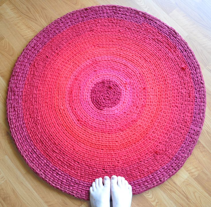 Emily Kircher makes these beautiful crochet rugs from old t-shirts and sheets.