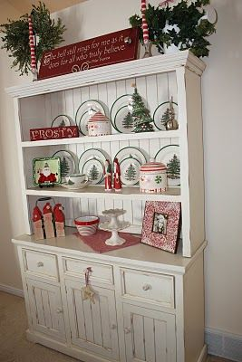 white hutch- I kinda like this. Then switch out the plates/decor for holidays/seasons