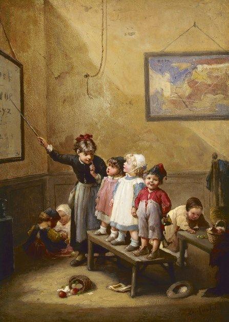 François-Louis Lanfant de Metz (Sierck (Frankrijk) 1814-1892 Le Havre) The lesson - Dutch Art Gallery Simonis and Buunk Ede, Netherlands.
