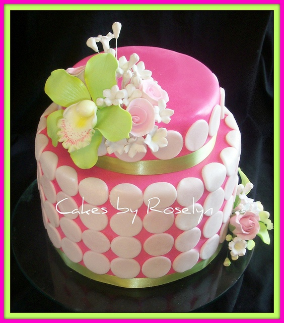 pink and green bridal shower cake