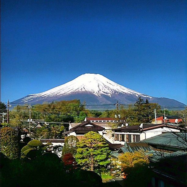 Mt. Fuji morning perfection, a view from our deck after the clouds cleared - #Japan @ 山中湖(Lake Yamanakako)Fujisan 富士山