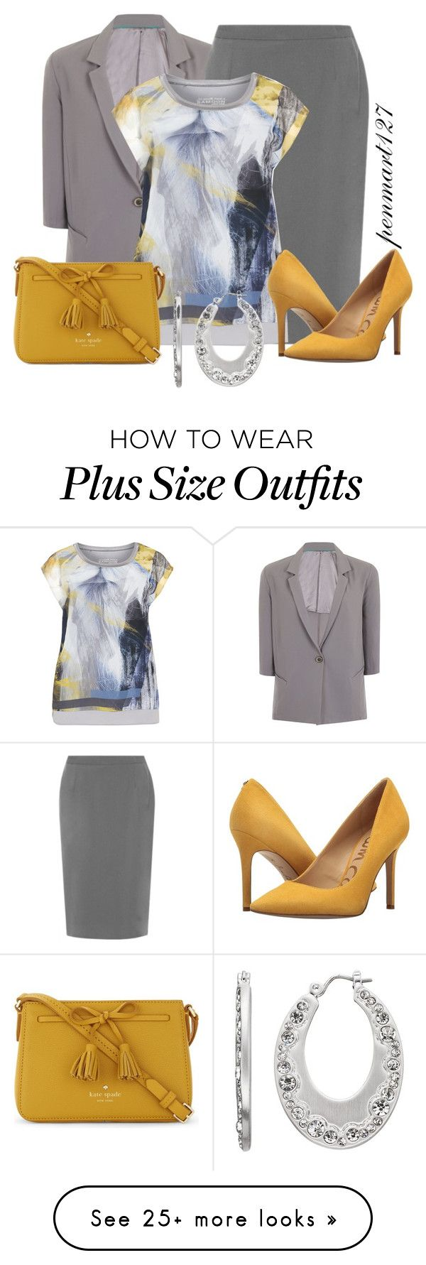 """""""Come Together Right Now #Plussize"""" by penny-martin on Polyvore featuring Elvi, Samoon, Sam Edelman, Kate Spade and Dana Buchman"""