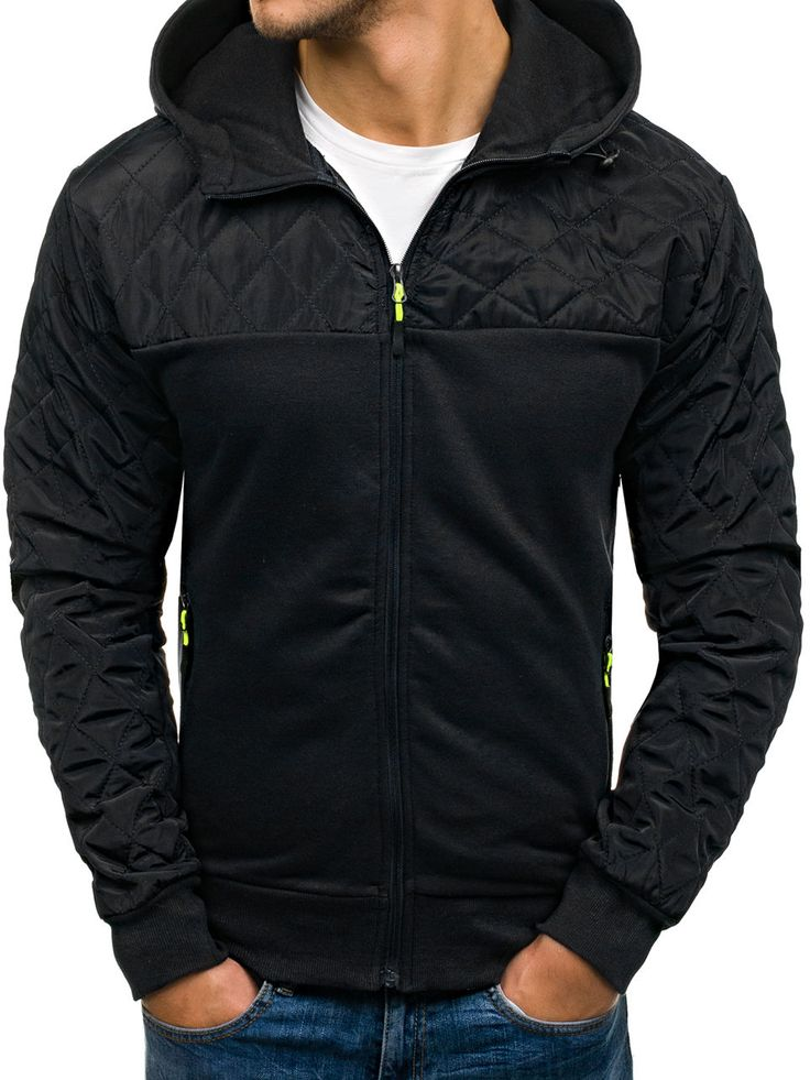 Black men's quilted jacket Manufactured for Bolf by J. Style The model (182 cm, 82 kg) is wearing size XL Fabric: 65% Cotton, 35% Polyester
