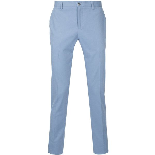 Etro straight-leg trousers (19.465 RUB) ❤ liked on Polyvore featuring men's fashion, men's clothing, men's pants, men's casual pants, blue, mens straight leg cargo pants, mens blue pants, mens zip off pants, mens elastic waistband pants and mens zipper pants