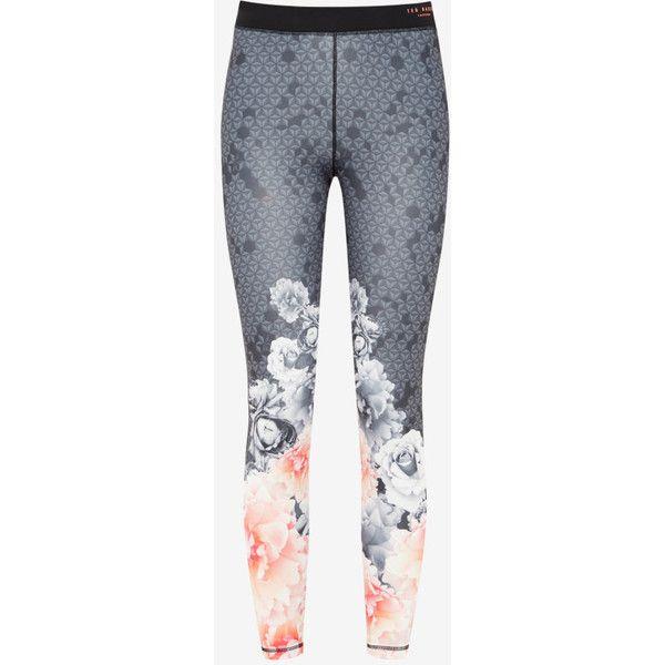 Ted Baker Monorose Sports Leggings ($159) ❤ liked on Polyvore featuring pants, leggings, sports pants, patterned pants, print leggings, back zipper pants and pocket leggings