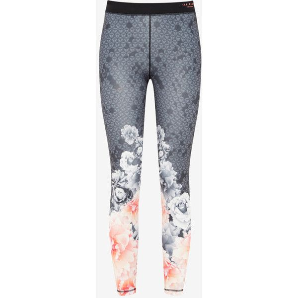 Ted Baker Monorose Sports Leggings (£110) ❤ liked on Polyvore featuring pants, leggings, print pants, zip pocket pants, zipper pants, back zipper pants and print leggings
