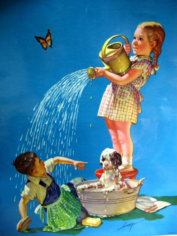 Vintage  calendar girl picture top print picture girl with sprinkling can sample calendar