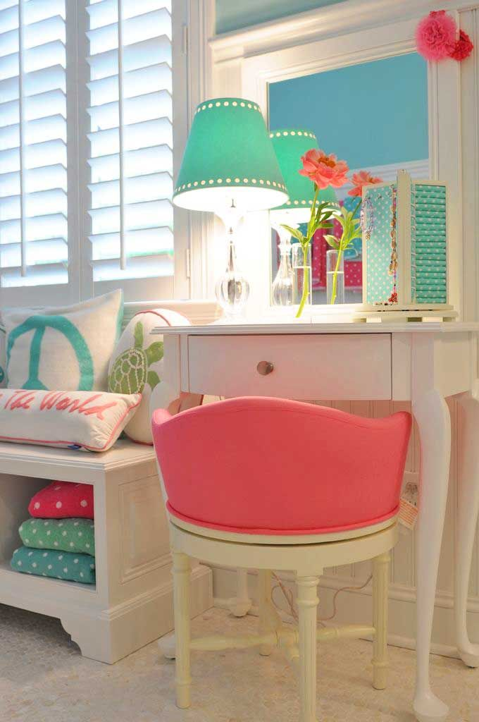 Great smaller vanity if we don't have room for a desk in her room