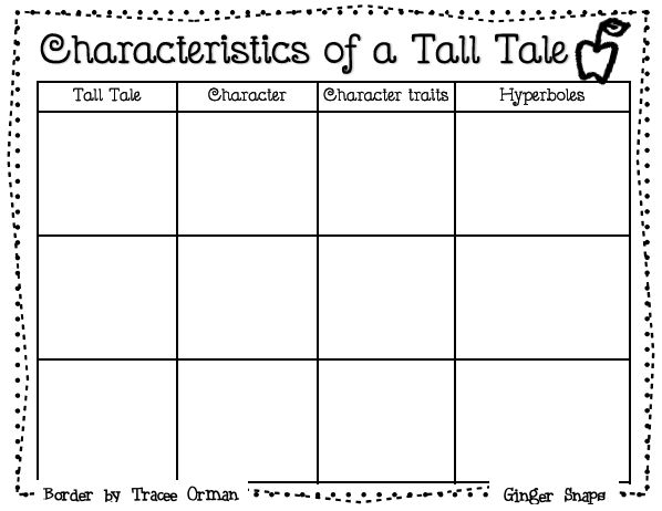 Characteristics of a Tall Tale graphic organizer