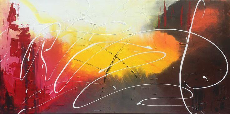 Tableau abstrait peinture grand 100 x 50 cm : Peintures par zou67