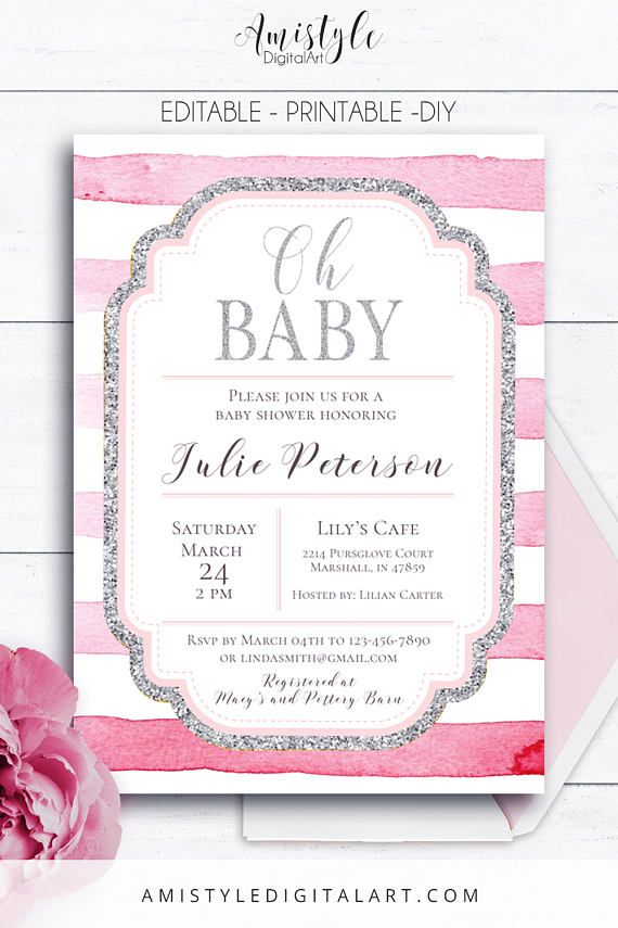 Shower invitation, baby shower printable for baby girls - with elegant and beautiful pink watercolor stripes and glitter silver elements by Amistyle Digital Art on Etsy