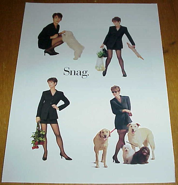 1996 L'eggs Reliance Pantyhose Jamie Lee Curtis & Dogs Hosiery 2 Page Ad #020717