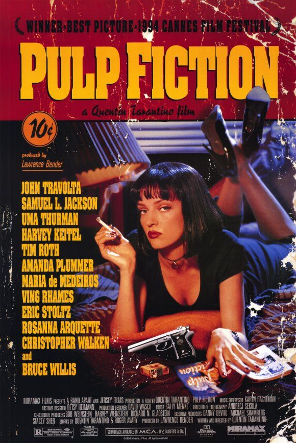 "1994: Pulp Fiction  The poster plays on the film's title and takes the form of a book. A great, and often missed, detail is that Mia Wallace is reading a book called ""Pulp Fiction""...who knew?"