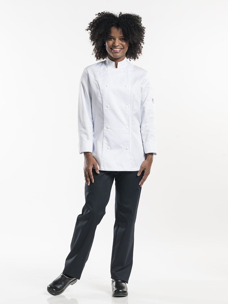 Chef jacket Lady Comfort White - An ultimate Tailored Fit specially designed for lady chefs. Classic, stylish, modern and professional. It is always hot in the kitchen especially during summer months. Fortunately we haven't forgotten the ladies because they can also stay cool and comfortable in our Comfort White with elegant ¾ sleeves.  Tailored Fit Visible fastening - Press buttons Perfect fit for ladies