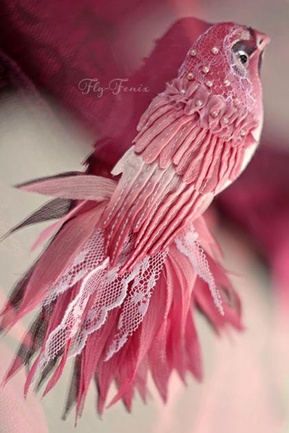 брошь птица Вишнецветка - птица,райская,шелк,пташка,кружево,розовый,весеннее настроение