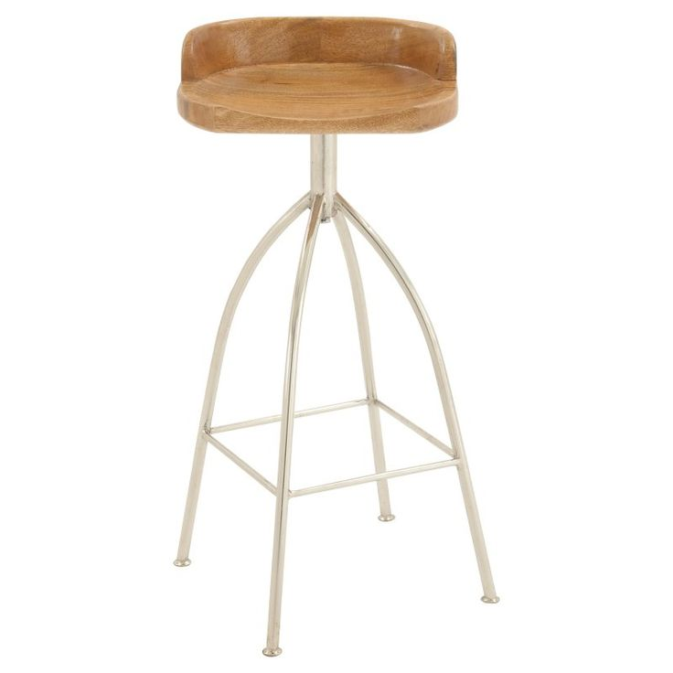 DecMode Round Low Back Metal Barstool with Wood Seat - 8090
