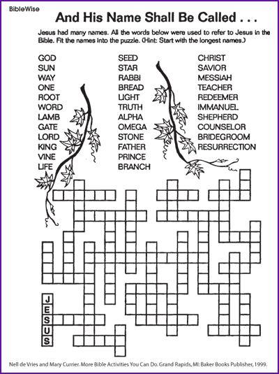 The Many Names for Jesus (Puzzle) - Kids Korner - BibleWise