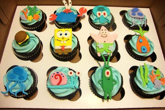 Sponge bob Cupcake Toppers by CakesbyTomiko on Etsy