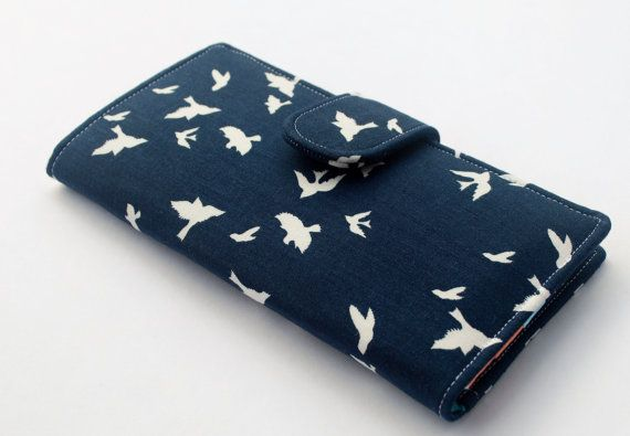 Navy Clutch Wallet, Women's Fabric Vegan Wallet, Flying Birds in Navy - Made to Order Really love this