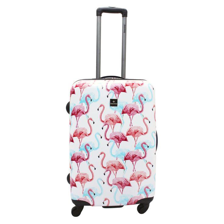 Mittelgroßer #Reisekoffer Saxoline #Flamingo bei Koffermarkt: ✓Flamingo-Print in rosa und blau ✓4 Rollen ✓ABS-Polycarbonat  ⇒Jetzt kaufen