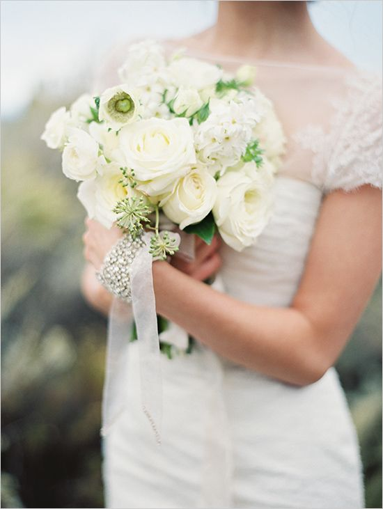 white wedding bouquet by Holly Carlisle photography by @Erich Mcvey. featured in @wedding chicks.