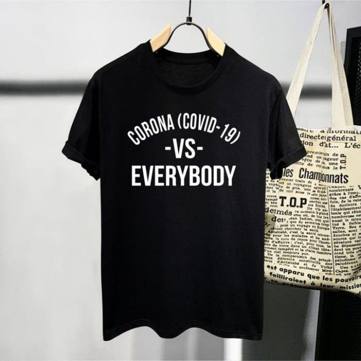T Shirt Fight Corona Baju Kaos Distro Pria Wanita Cotton 30s Di 2020 Baju Kaos Kaos T Shirt