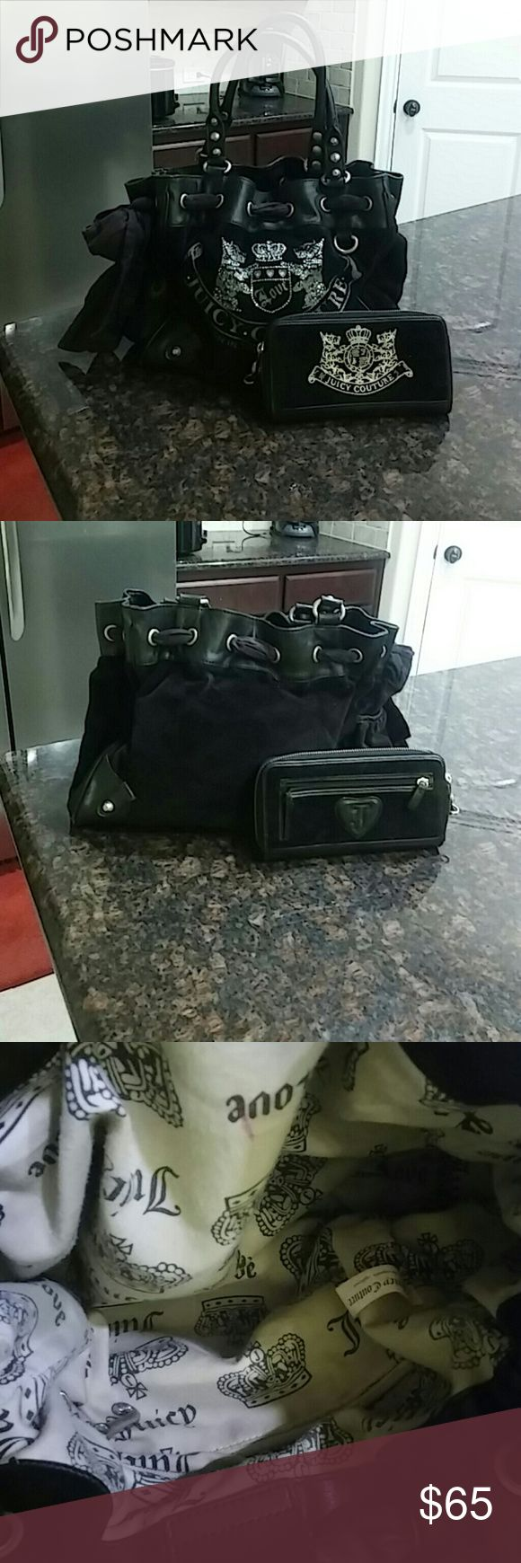 😍Juicy Couture Bundle😍 Gently used black and silver large juicy Couture bag with rhinestones and like new matching wallet. The inside of bag in very good condition no major stains. Small signs of wear on left bottom corner see pics😍 Juicy Couture Bags Shoulder Bags