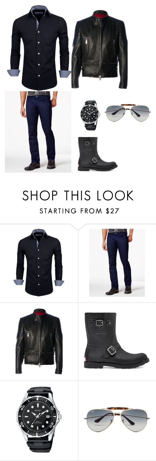 """""""We're Partners Oliver"""" by sara-scott-i on Polyvore featuring HUGO, Al Duca d'Aosta, Hunter, Ray-Ban, men's fashion and menswear"""