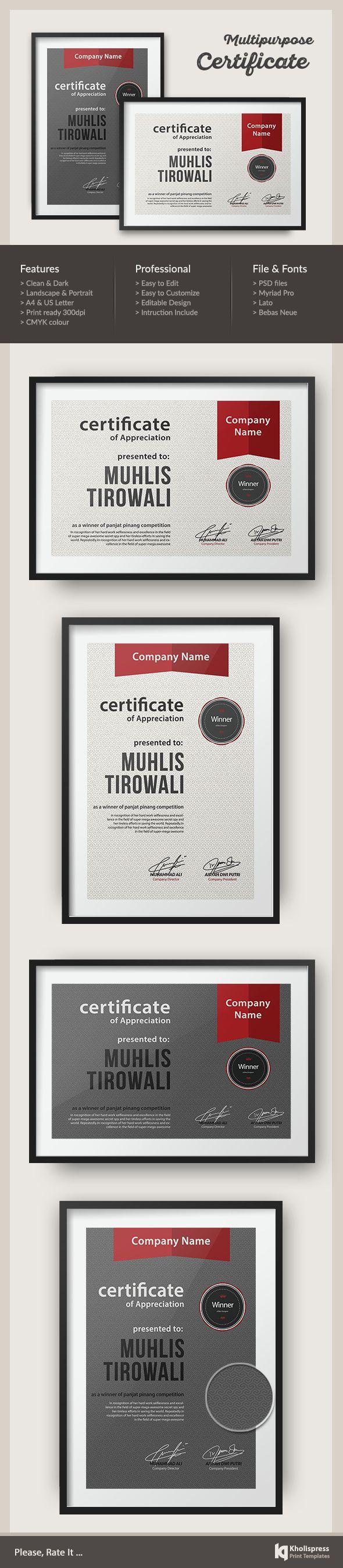 Pattern Certificate Template on Behance