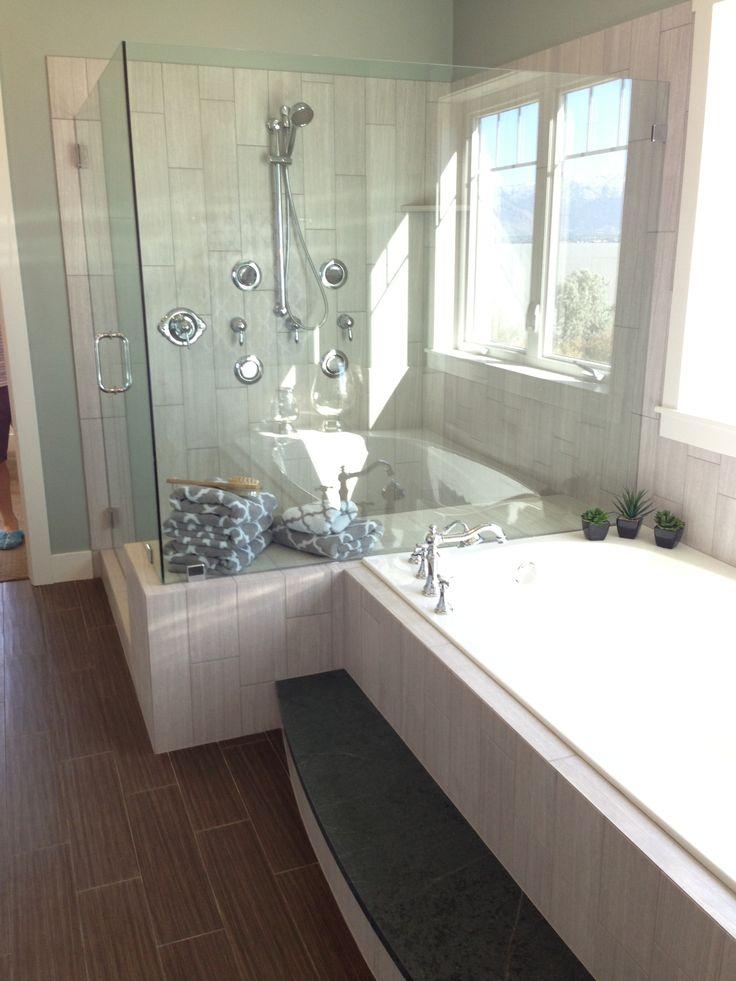 Tile around shower, glass doors  Bathrooms  Pinterest