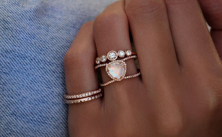 14kt gold and diamond Petite Triangle Double Band Moonstone ring – Luna Skye
