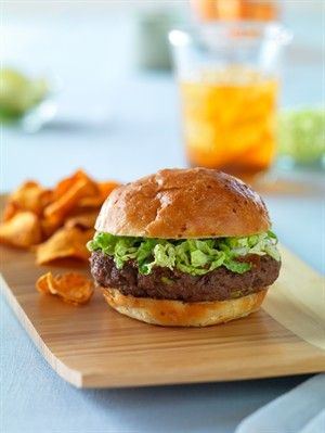 Thai Burger -- This unique burger is topped with the flavors of Thailand: peanut butter, lime juice and hoisin with the crunch of cabbage.