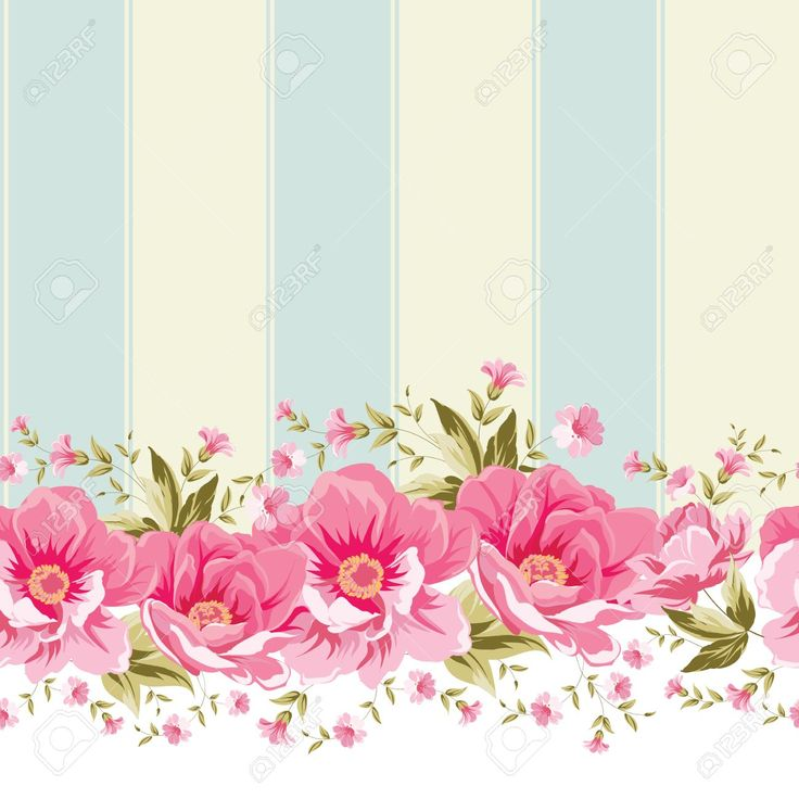 Ornate Pink Flower Border With Tile. Elegant Vintage ...