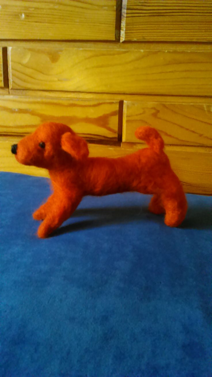 "Needle felted dog inspired by ""felted toy Gdańsk 11th century"". By Alina Wodzińska"