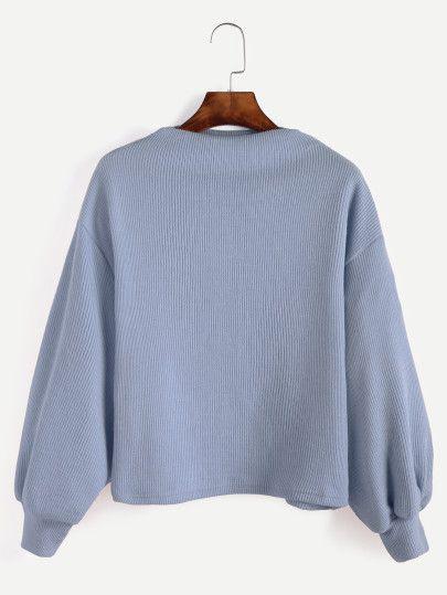 Blue Ribbed Lantern Sleeve Sweater