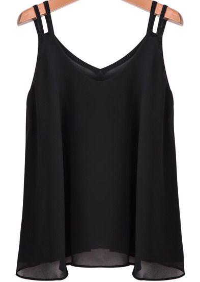 11.90 Black Spaghetti Strap Loose Chiffon Vest