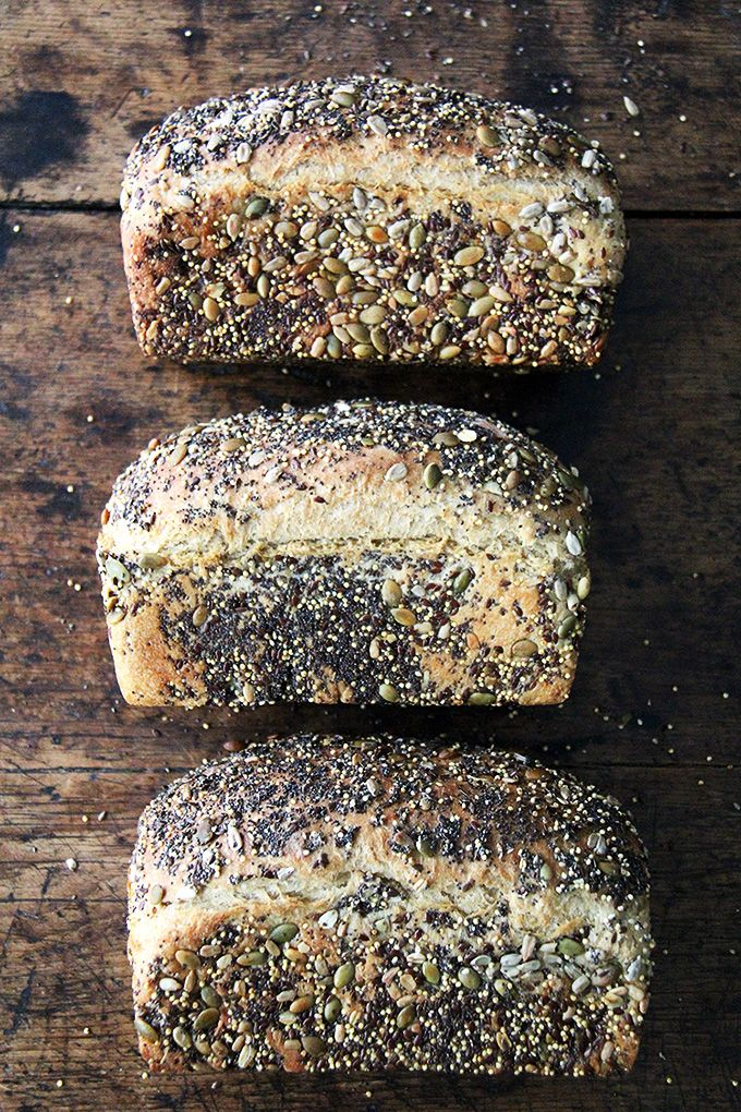 This is a basic sandwich bread, coated in seeds or not—I love the seeds; my children do not, so I make it both ways, and everyone is happy. The original recipe is in Bread Toast Crumbs (soon to be released!) but here I've replaced half of the flour with the sprouted wheat flour.