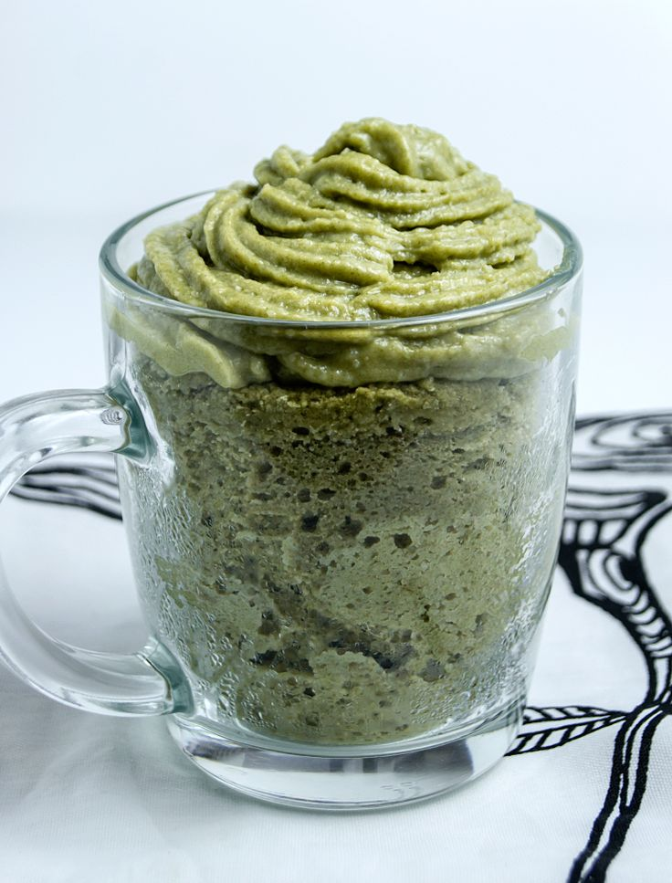 Young green wheat microwave cake with protein frosting