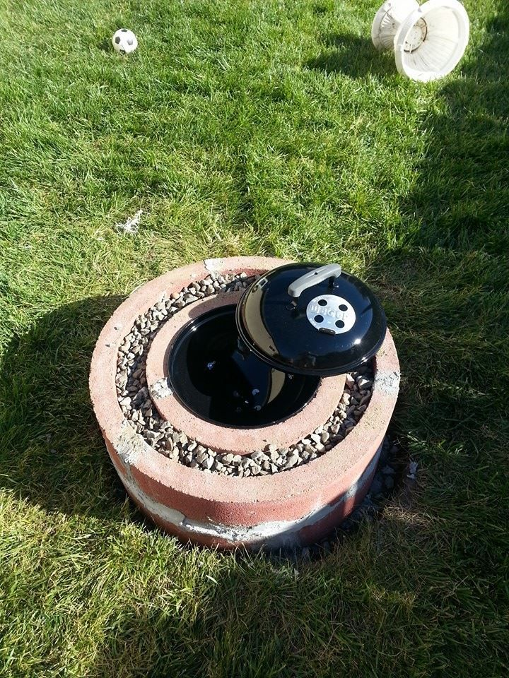 50 fire pit using concrete tree rings - Fire Rings