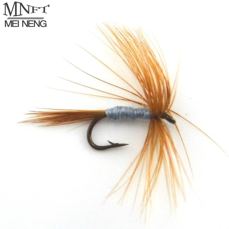 [Visit to Buy] MNFT 10PCS Brown Beard Gray Body Fly Lure Barb Single Hooks Salmon Trout Bait Dry Fly Fishing Lures #Advertisement