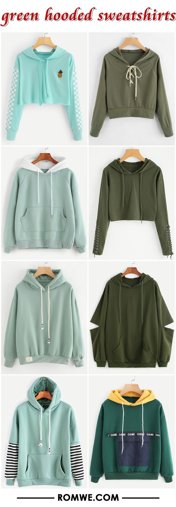 green hooded sweatshirts from romwe.com