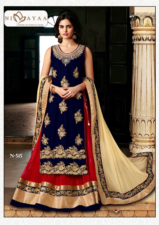 Lehenga Online Shopping / Womens Red Net Lehenga Choli
