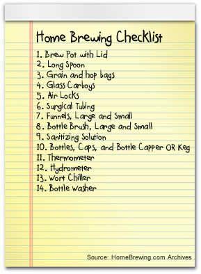 Home Brewing Gear Checklist