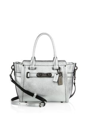 COACH - Swagger Small Pebbled Leather Satchel