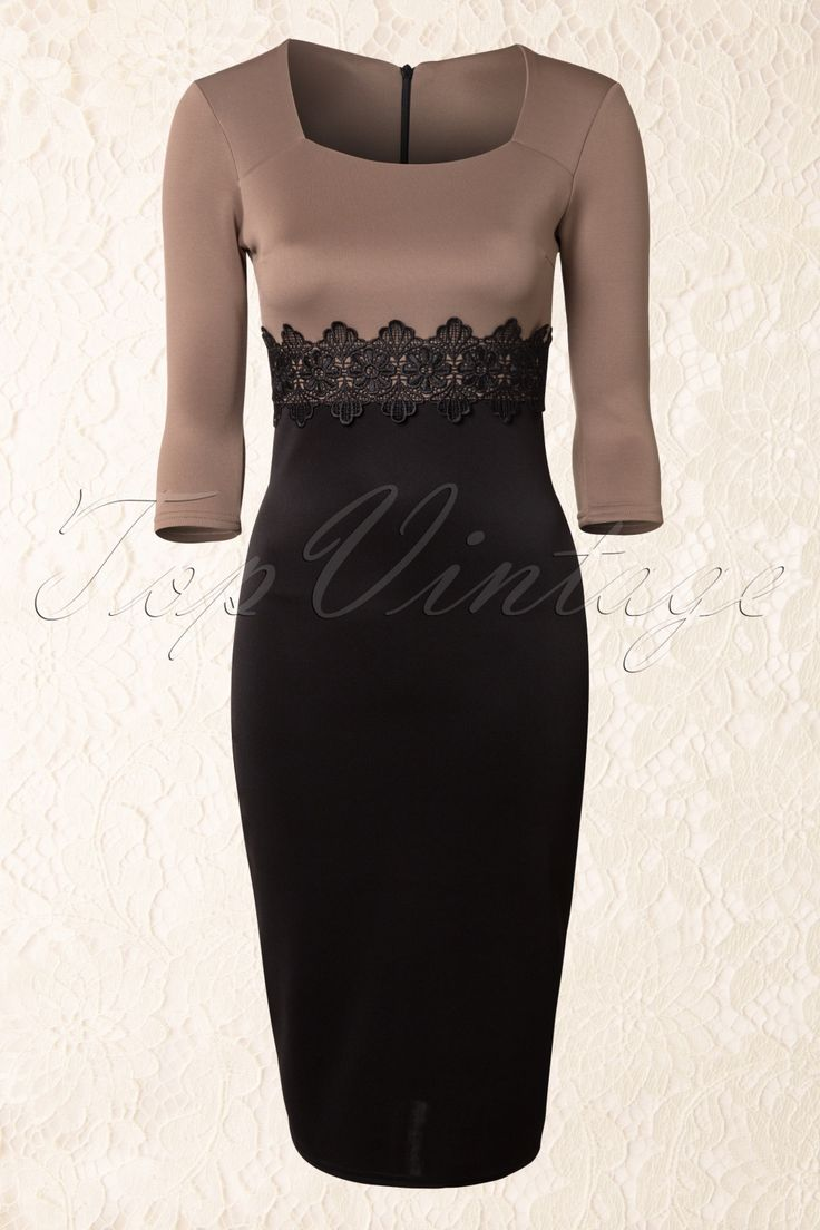 50s retro Scarlet Lace Dress in Mocha and Black