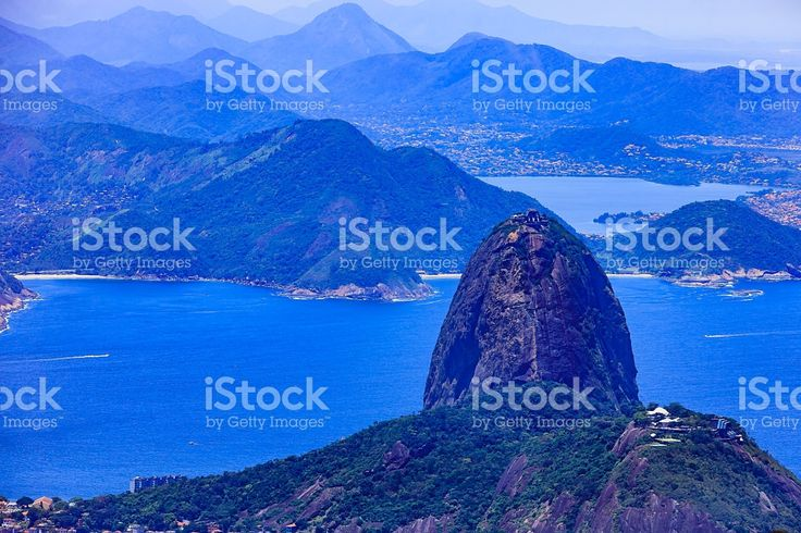 Rio de Janeiro, Brazil: Looking at Sugar Loaf from Corcovado royalty-free stock photo