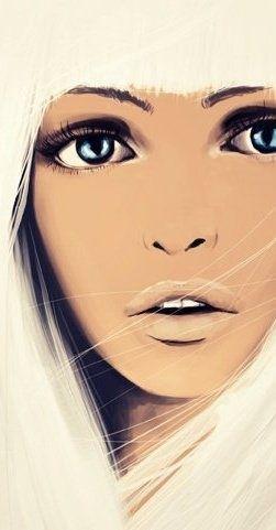 Female Face, Girl / Viso, volto femminile, donna, ragazza - Illustration/Illustrazione by  Moie Preisenberger
