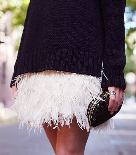Blogger Blair Eadie keeps a Kate Spade feather mini skirt from being too precious by styling it with an oversized A.L.C. turtleneck and a sleek Anya Hindmarch bag.